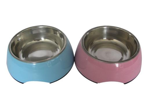 8.5'' Anti-slip Round Stainless Steel&Melamine Dog Bowl