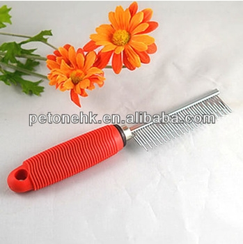 Stainless Steel Sawtooth Rubber Handle Pet Dog Cat Grooming Shedding Comb