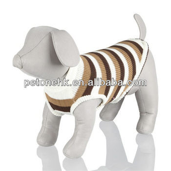 beautifull Striped Pet Sweater Pullover with Ribbed Neck